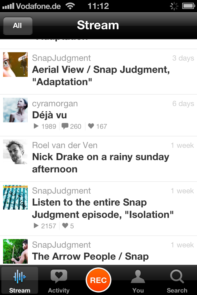 screenshot of SoundCloud